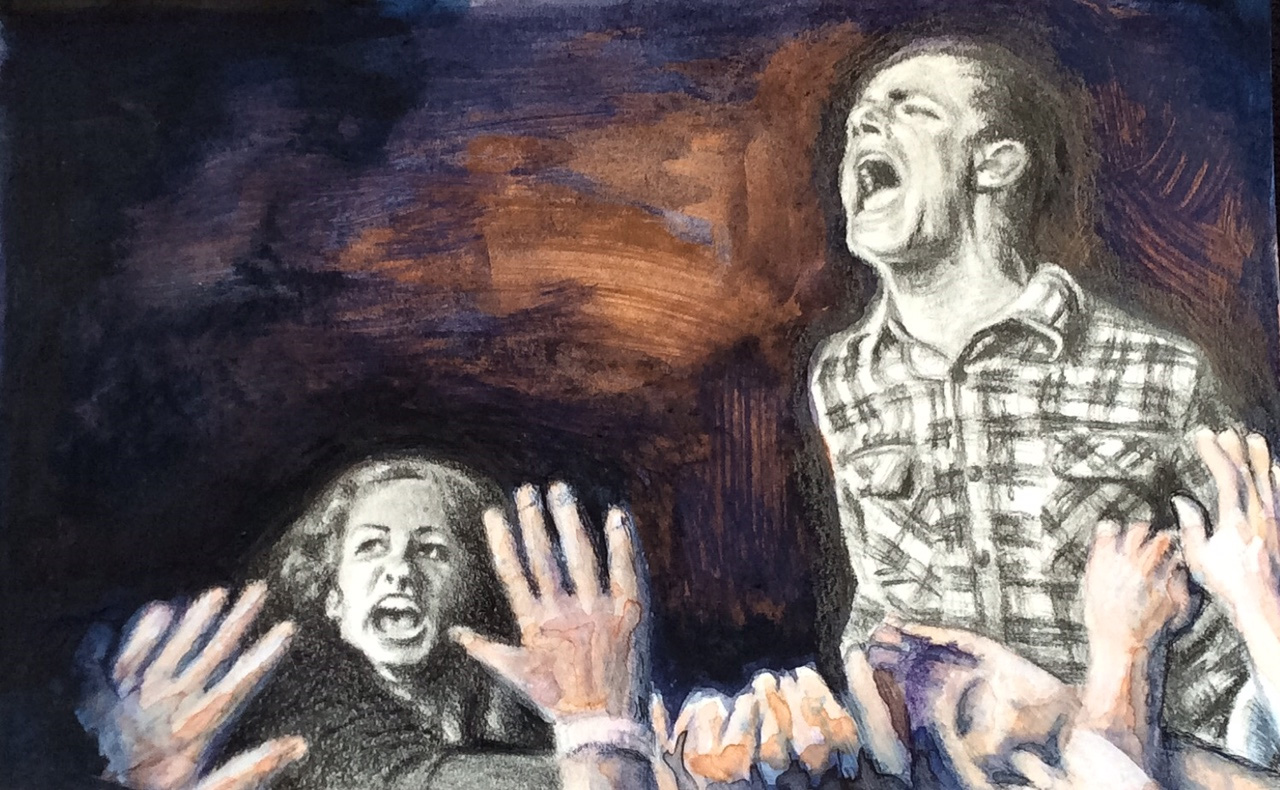 """Mixed media - graphite, watercolor, acrylic and ink: """"From lives of quiet desperation to the roar of rage"""""""