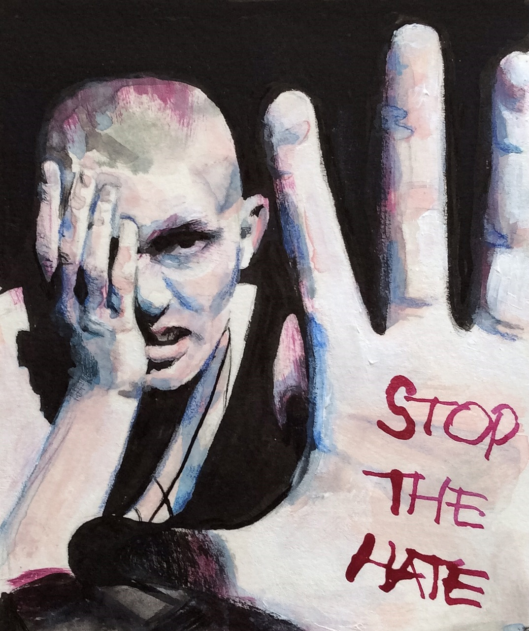 "Mixed Media - acrylics, micron pen, ink, and watercolor: ""Stop the Hate"""